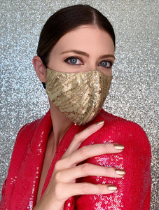 Sequin Glitter Mask - Gold - Maskela
