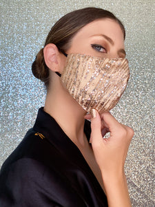 Sequin Glitter Mask - Rose Gold - Maskela
