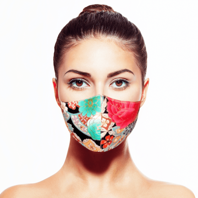 Peranakan Mask - Black - Maskela Reusable Fashionable Face Masks