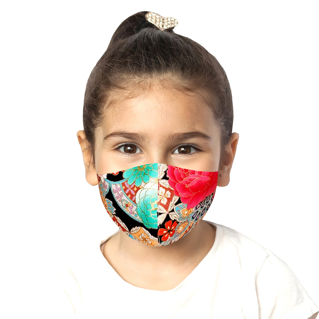 Kids Peranakan Mask - Black - Maskela Reusable Fashionable Face Masks