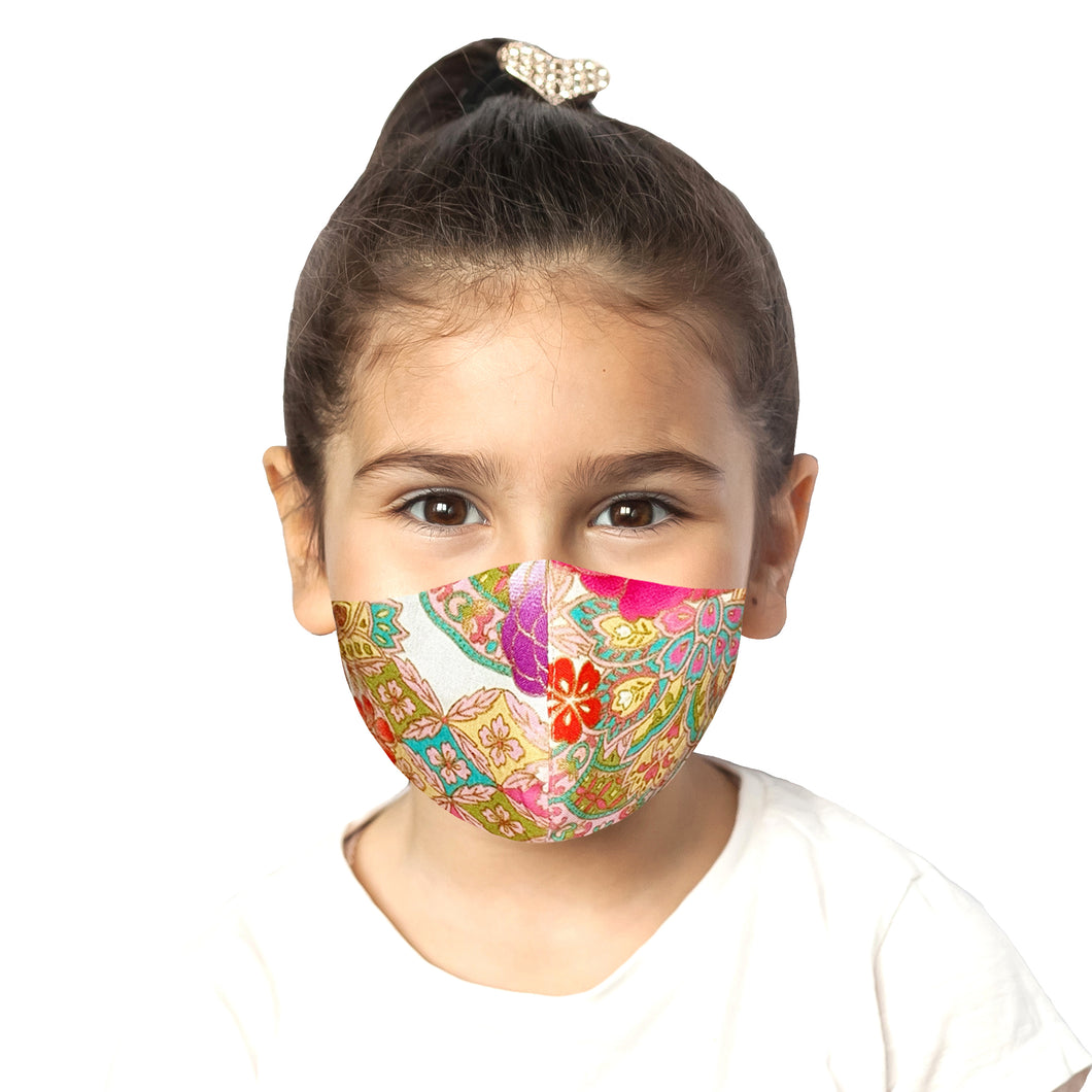 Kids Peranakan Mask - White - Maskela Reusable Fashionable Face Masks
