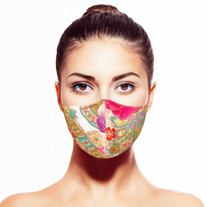 Peranakan Mask - White - Maskela Reusable Fashionable Face Masks