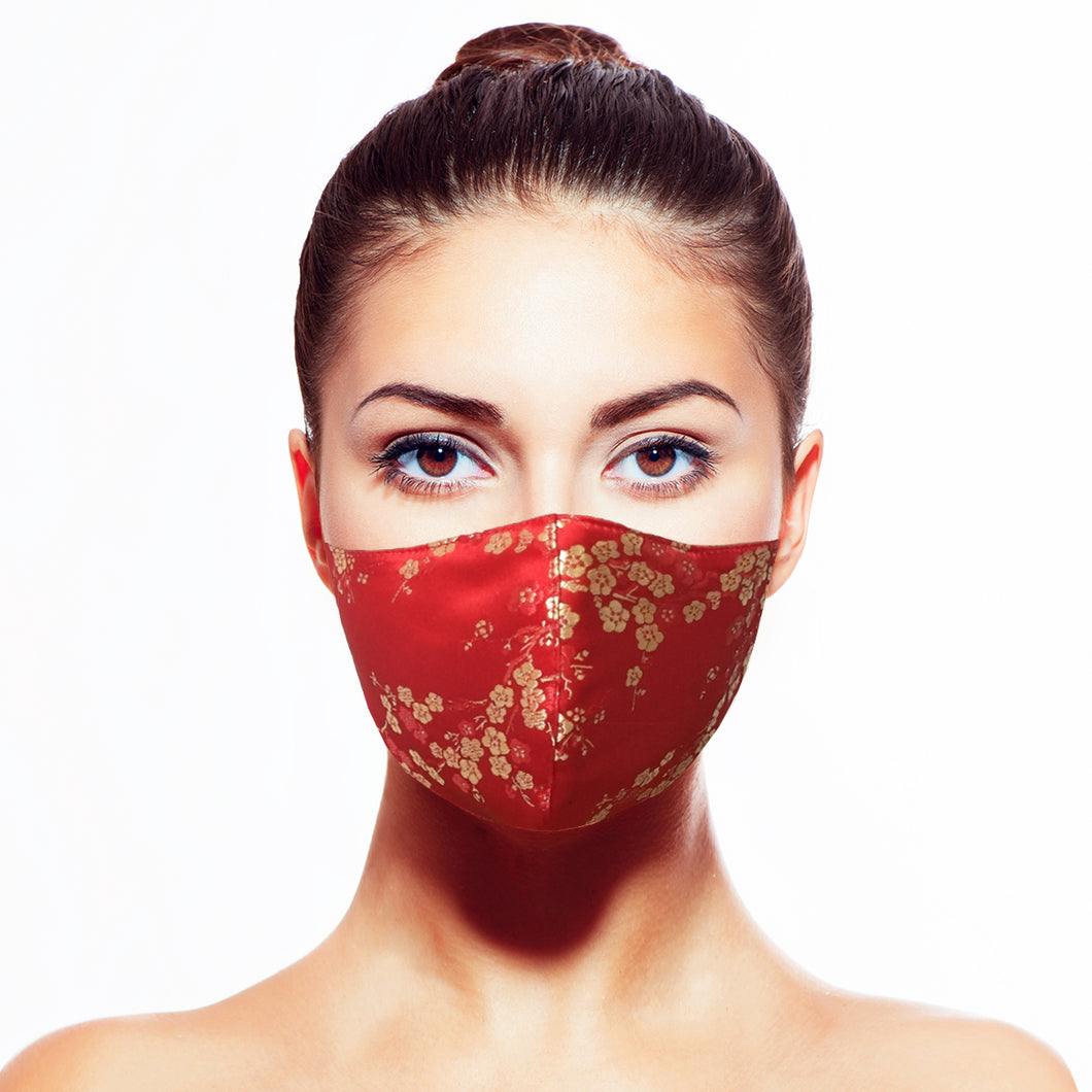 Sakura Mask - Red - Maskela Reusable Fashionable Face Masks