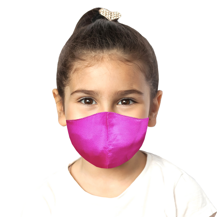 Kids Satin Mask - Fuchsia - Maskela Reusable Fashionable Face Masks