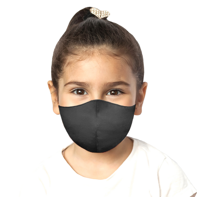 Kids Satin Mask - Matte Black - Maskela Reusable Fashionable Face Masks