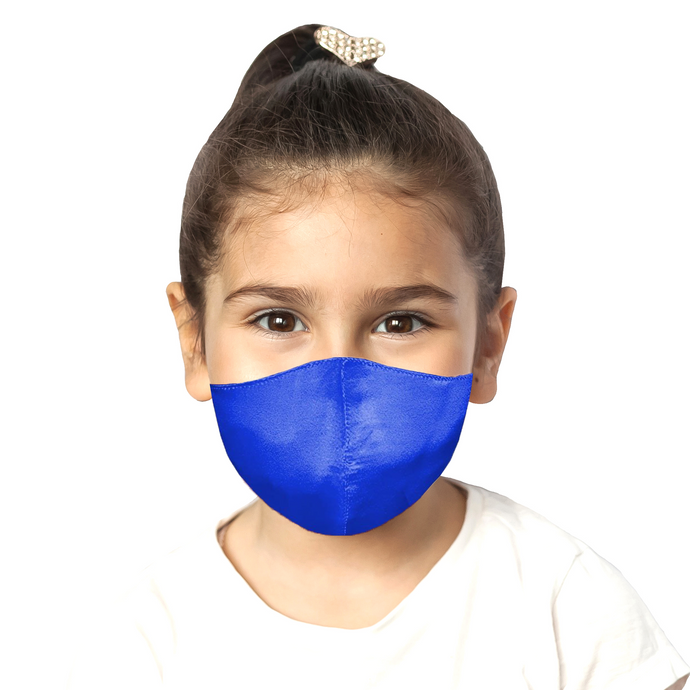 Kids Satin Mask - Sapphire - Maskela Reusable Fashionable Face Masks