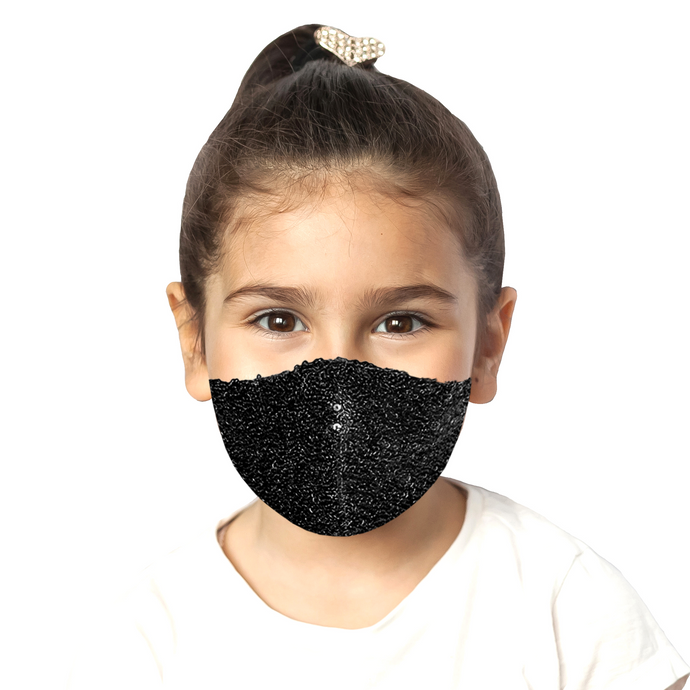 Kids Sequin Mask - Shiny Black - Maskela Reusable Fashionable Face Masks