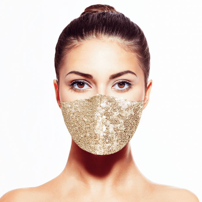 Sequin Mask - Shiny Gold - Maskela Reusable Fashionable Face Masks