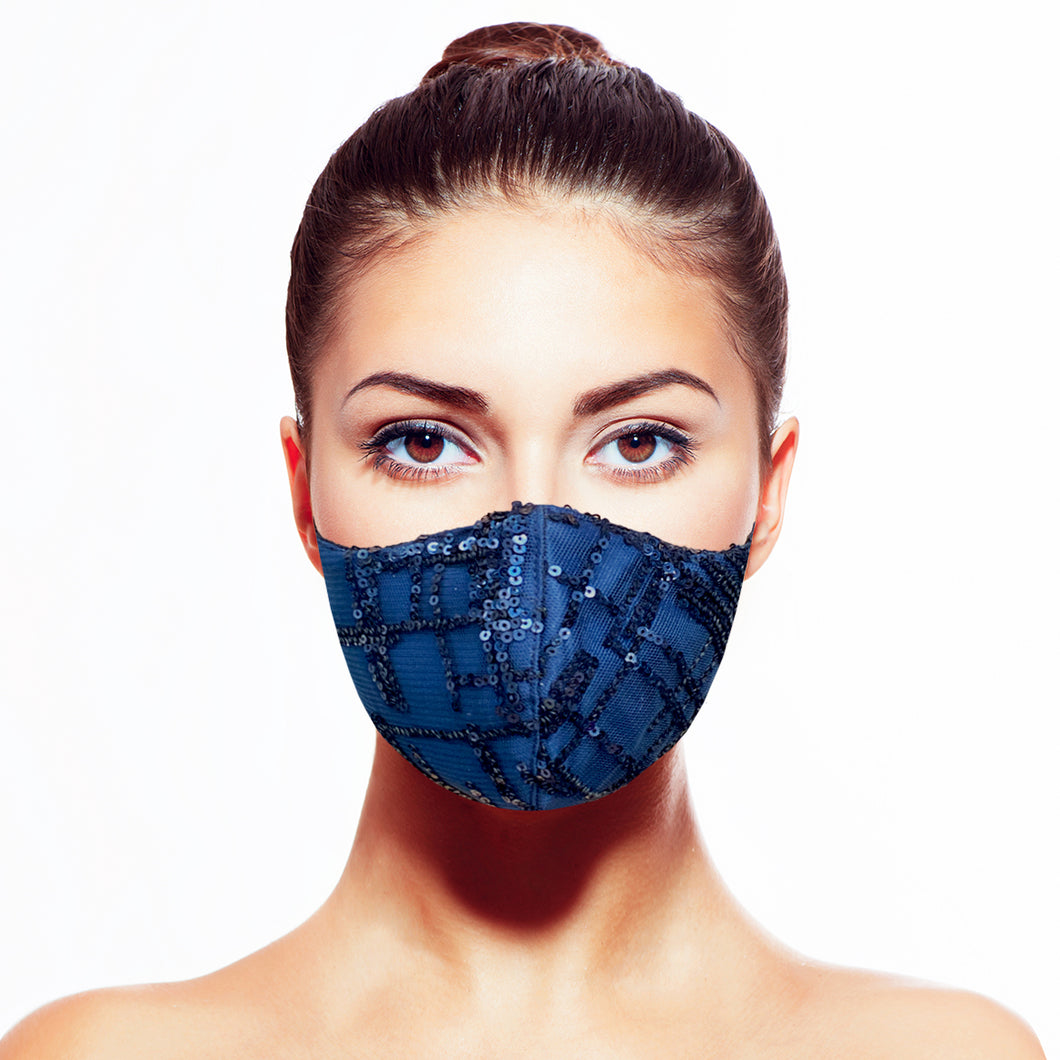 Sequin Mask - Abstract Navy - Maskela Reusable Fashionable Face Masks