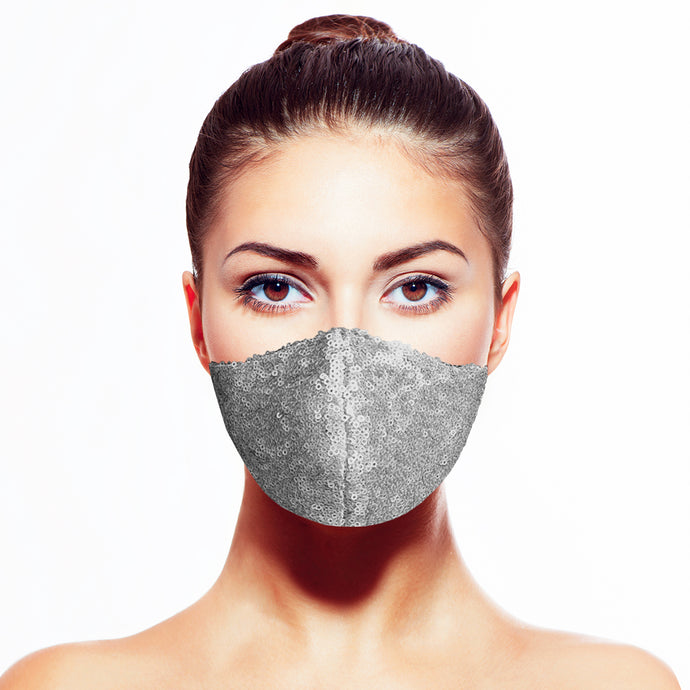 Sequin Mask - Matte Steel - Maskela Reusable Fashionable Face Masks