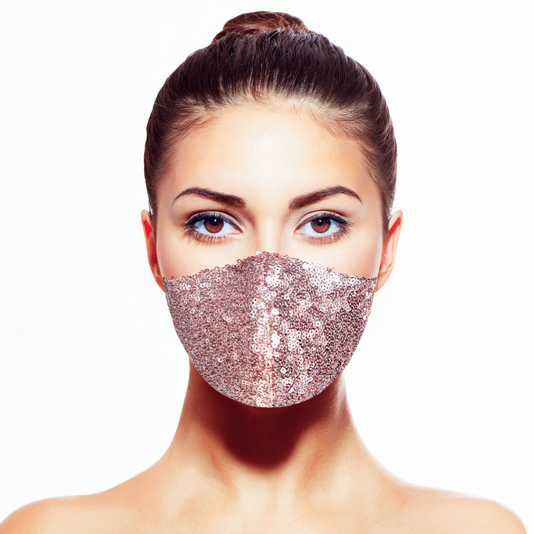 Sequin Mask - Shiny Rose Gold - Maskela Reusable Fashionable Face Masks