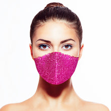 Load image into Gallery viewer, Sequin Mask - Matte Fuchsia - Maskela Reusable Fashionable Face Masks