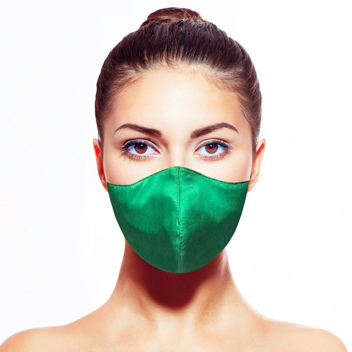 Satin Mask - Emerald - Maskela Reusable Fashionable Face Masks