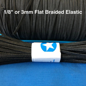 1/8 inch white or black elastic bands for sewing face masks. Braided, flat, soft elastic band in black or white. Ships from Ohio.