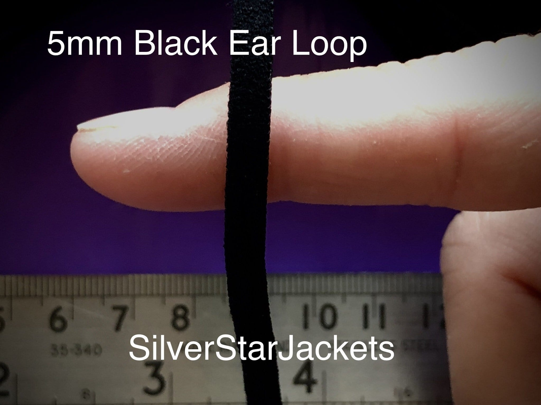 5mm flat, soft, loop elastic in BLACK for sewing face coverings. Sold in 10 and 20 yard bundles. Ships from Ohio.