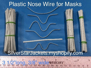 4mm Plastic Nose Wire for Sewing into Face Masks. Flat, bendable, strips with two metal 1 wires on the edges. Sets of 25 50 100 200. Ships from Ohio.
