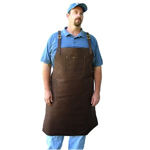 "Heavy duty extra-long leather apron with 3 riveted pockets, cross back straps and ties at the waist. Extra long length 39.5"" long x 31"" wide"