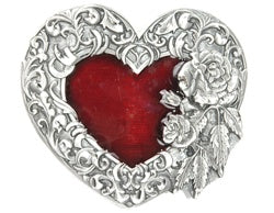 Silver & Red Single Heart