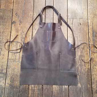 Cross-Back Pocketed Leather Apron Heavy Duty