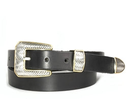 Western Herringbone Silver and Gold buckle set includes: Buckle, Keeper and Tip.