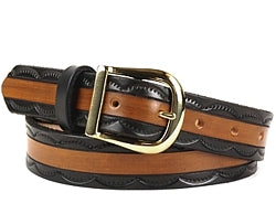 Custom Two-Tone Half Circles Edging Leather Belt | $75 - $84