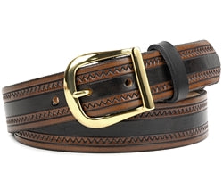 Our custom Two-Tone Brown Zig Zag Leather Belt is hand-dyed and hand tooled creating a unique design and color. This belt is a two-tone color of brown edges and a black interior. It is available in 3 different widths.