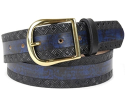 Custom Two-Tone Marbled Design Leather Belt | $75 - $84