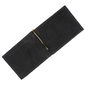 "Black leather money clip and 2 slide-in credit card holders for your ID, credit cards and paper bills. Size 4.75"" x 3"""