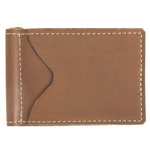"Canyon Brown leather money clip and 2 slide-in credit card holders for your ID, credit cards and paper bills. Size 4.75"" x 3"""