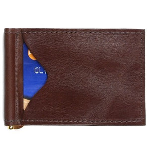 "Chocolate Brown leather money clip and 2 slide-in credit card holders for your ID, credit cards and paper bills. Size 4.75"" x 3"""