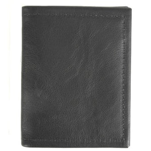 "Black leather bi-fold money clip wallet - 3 inside credit card slots, 1 money clip hook. Folded size 3.5"" x 4.5"""