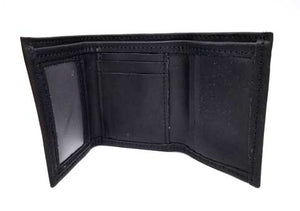 "Black Tri Fold Wallet with an ID window on the left for quick access. Lots of space for credit cards, 3 slide-down pockets in the center, bonus pocket behind, and 3 vertical pockets on the right. Closed size: 3"" x 4.5"""