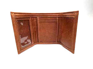 "Chocolate Tri Fold Wallet with an ID window on the left for quick access. Lots of space for credit cards, 3 slide-down pockets in the center, bonus pocket behind, and 3 vertical pockets on the right. Closed size: 3"" x 4.5"""