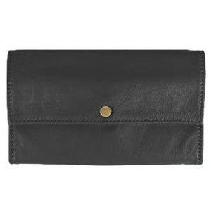 "Black Ladies Deluxe Tri-Fold Leather Clutch Wallet holds 5 vertical credit cards, cash and checkbook. The wallet opens to access a slide-in bill pocket and a coin holder. The wallet closes with a nickel-plated solid brass snap closure. Closed size 7"" x 4.25"""