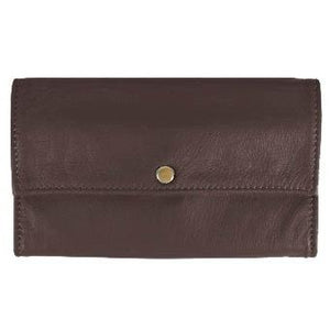 "Dark Brown Ladies Deluxe Tri-Fold Leather Clutch Wallet holds 5 vertical credit cards, cash and checkbook. The wallet opens to access a slide-in bill pocket and a coin holder. The wallet closes with a nickel-plated solid brass snap closure. Closed size 7"" x 4.25"""