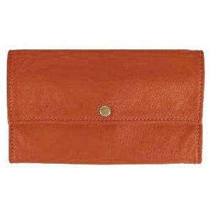"Luggage Ladies Deluxe Tri-Fold Leather Clutch Wallet holds 5 vertical credit cards, cash and checkbook. The wallet opens to access a slide-in bill pocket and a coin holder. The wallet closes with a nickel-plated solid brass snap closure. Closed size 7"" x 4.25"""