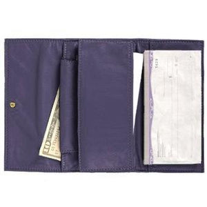 "Purple Ladies Deluxe Tri-Fold Leather Clutch Wallet holds 5 vertical credit cards, cash and checkbook. The wallet opens to access a slide-in bill pocket and a coin holder. The wallet closes with a nickel-plated solid brass snap closure. Closed size 7"" x 4.25"""