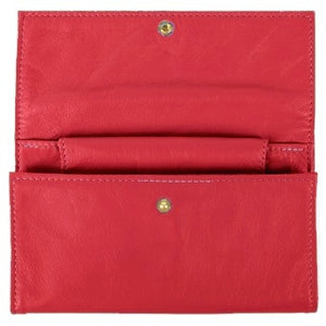 "Red Ladies Deluxe Tri-Fold Leather Clutch Wallet holds 5 vertical credit cards, cash and checkbook. The wallet opens to access a slide-in bill pocket and a coin holder. The wallet closes with a nickel-plated solid brass snap closure. Closed size 7"" x 4.25"""