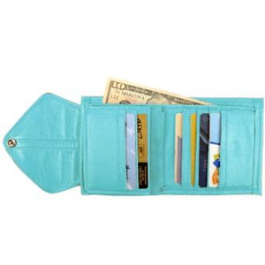 "Baby Blue Ladies Bi-Fold ID Leather Wallet  - compact wallet opens to a 7"" bill pocket , flip ID holder and 10 credit card slots. The exterior has a zippered coin pocket and a nickel-plated solid brass snap closure. Closed sized 4.5"" x 4.5"""