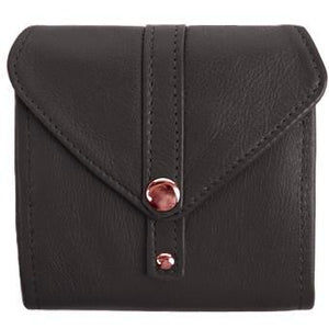 "Black Ladies Bi-Fold ID Leather Wallet  - compact wallet opens to a 7"" bill pocket , flip ID holder and 10 credit card slots. The exterior has a zippered coin pocket and a nickel-plated solid brass snap closure. Closed sized 4.5"" x 4.5"""