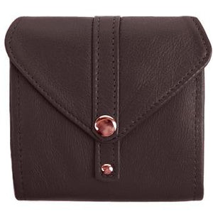 "Dark Brown Ladies Bi-Fold ID Leather Wallet  - compact wallet opens to a 7"" bill pocket , flip ID holder and 10 credit card slots. The exterior has a zippered coin pocket and a nickel-plated solid brass snap closure. Closed sized 4.5"" x 4.5"""