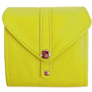 "Lime Ladies Bi-Fold ID Leather Wallet  - compact wallet opens to a 7"" bill pocket , flip ID holder and 10 credit card slots. The exterior has a zippered coin pocket and a nickel-plated solid brass snap closure. Closed sized 4.5"" x 4.5"""