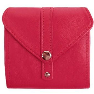 "Red Ladies Bi-Fold ID Leather Wallet  - compact wallet opens to a 7"" bill pocket , flip ID holder and 10 credit card slots. The exterior has a zippered coin pocket and a nickel-plated solid brass snap closure. Closed sized 4.5"" x 4.5"""
