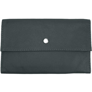 "Black Ladies Tri-fold Clutch Leather Wallet or small clutch. purse. Features 6 credit card/ID pockets, 2 - 7"" x 3"" slide in pockets for receipts or a cell phone. Outside 4"" zippered coin pocket, nickel-plated solid brass snap closure. Closed size 7"" x 4.25"""