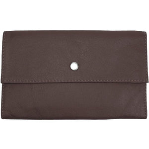 "Chocolate Ladies Tri-fold Clutch Leather Wallet or small clutch. purse. Features 6 credit card/ID pockets, 2 - 7"" x 3"" slide in pockets for receipts or a cell phone. Outside 4"" zippered coin pocket, nickel-plated solid brass snap closure. Closed size 7"" x 4.25"""