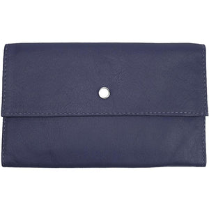 "Purple Ladies Tri-fold Clutch Leather Wallet or small clutch. purse. Features 6 credit card/ID pockets, 2 - 7"" x 3"" slide in pockets for receipts or a cell phone. Outside 4"" zippered coin pocket, nickel-plated solid brass snap closure. Closed size 7"" x 4.25"""