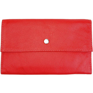 "Red Ladies Tri-fold Clutch Leather Wallet or small clutch. purse. Features 6 credit card/ID pockets, 2 - 7"" x 3"" slide in pockets for receipts or a cell phone. Outside 4"" zippered coin pocket, nickel-plated solid brass snap closure. Closed size 7"" x 4.25"""