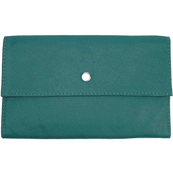 Ladies Tri-Fold Leather Clutch Wallet