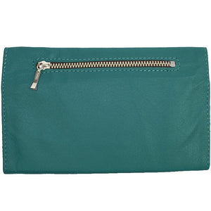 "Teal Ladies Tri-fold Clutch Leather Wallet or small clutch. purse. Features 6 credit card/ID pockets, 2 - 7"" x 3"" slide in pockets for receipts or a cell phone. Outside 4"" zippered coin pocket, nickel-plated solid brass snap closure. Closed size 7"" x 4.25"""