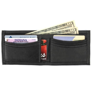 "Black Deluxe Bi-fold Leather Wallet offers a total of 10 ID and credit card slots and a full length divided bill compartment. Folded size 3.5"" x 4.5"""